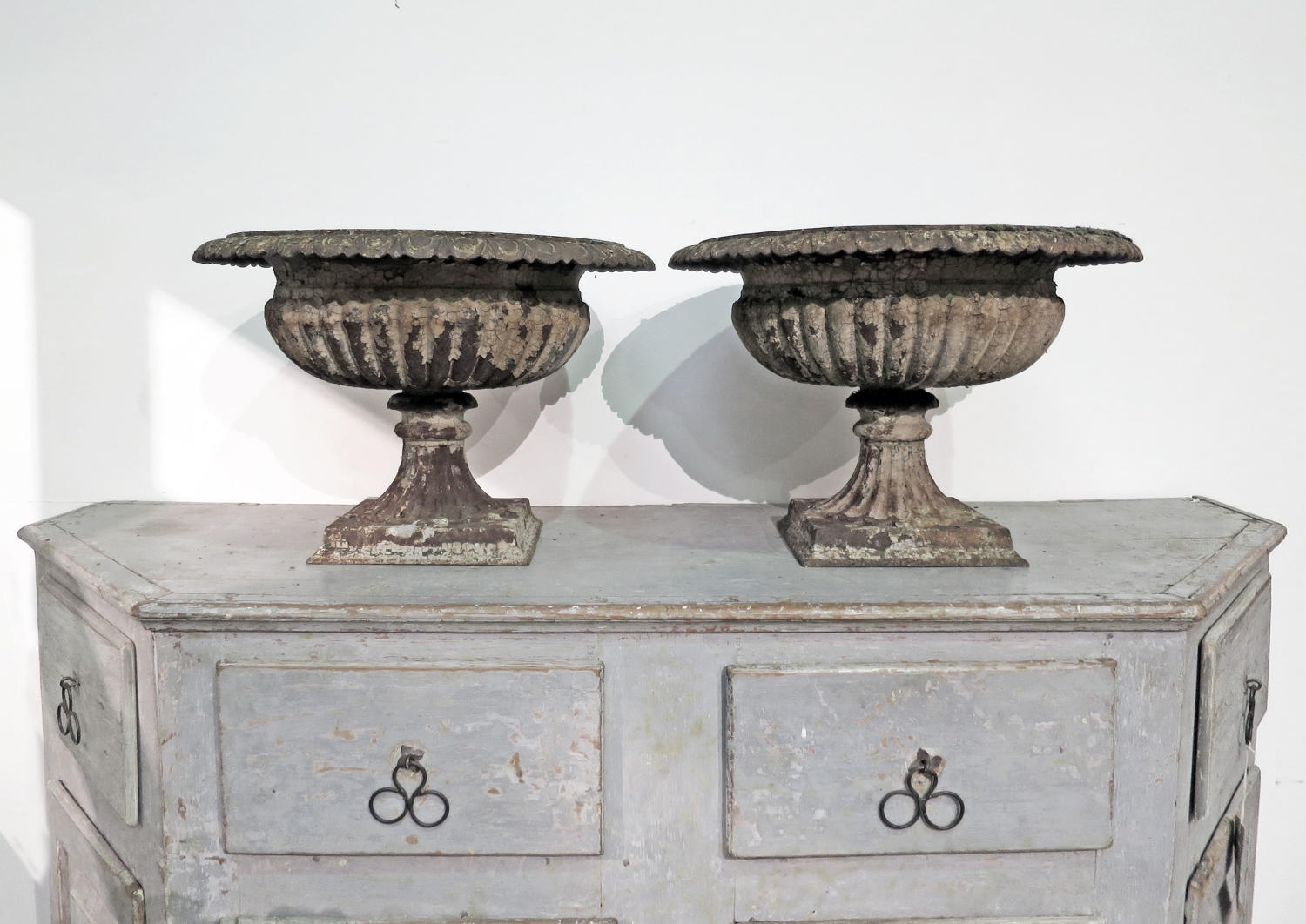Pair of 19th c Cast Iron Urns