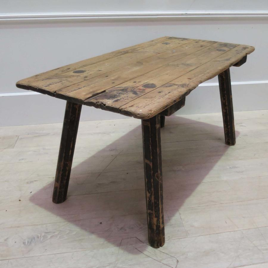 19th c Swedish Primitive Side Table