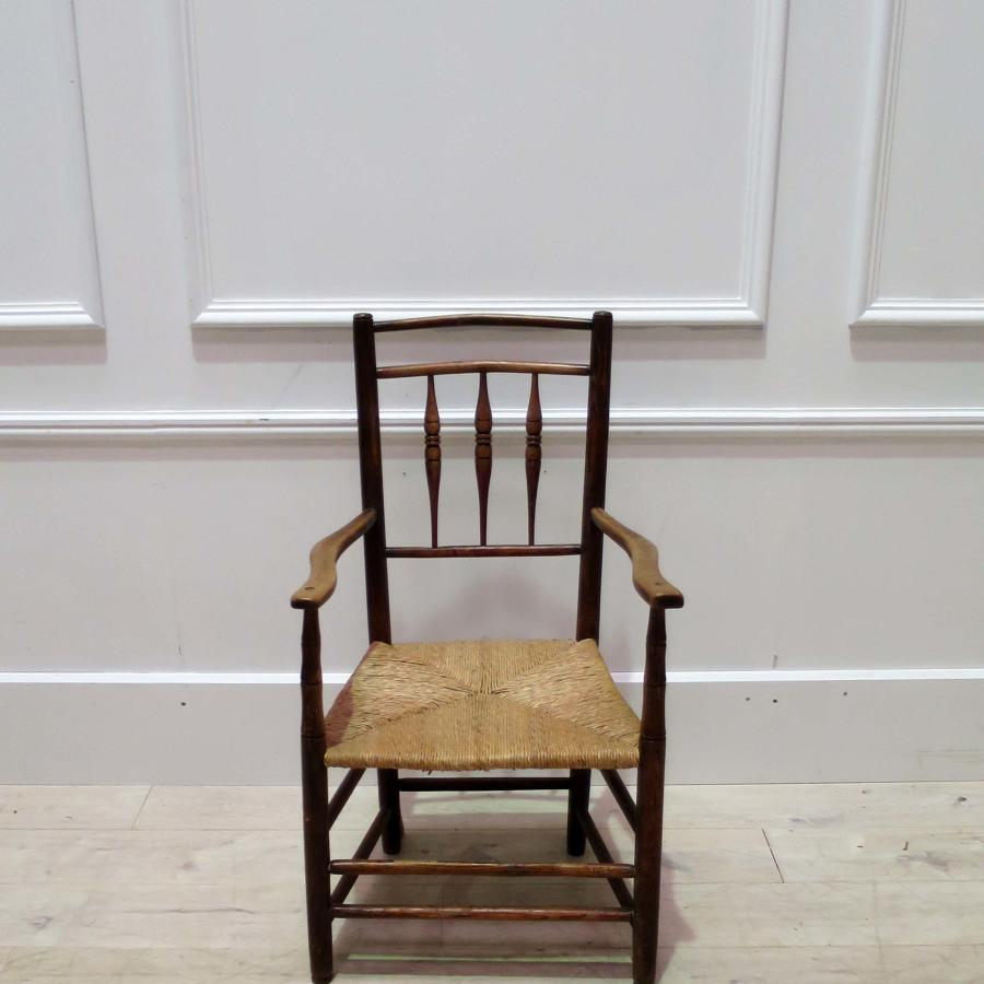19th century Rush Seated Provencal Armchair