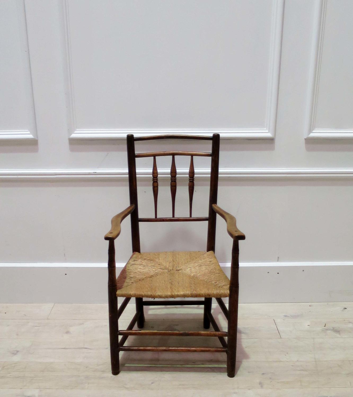 19th century Rush Seated Provencal Armchair