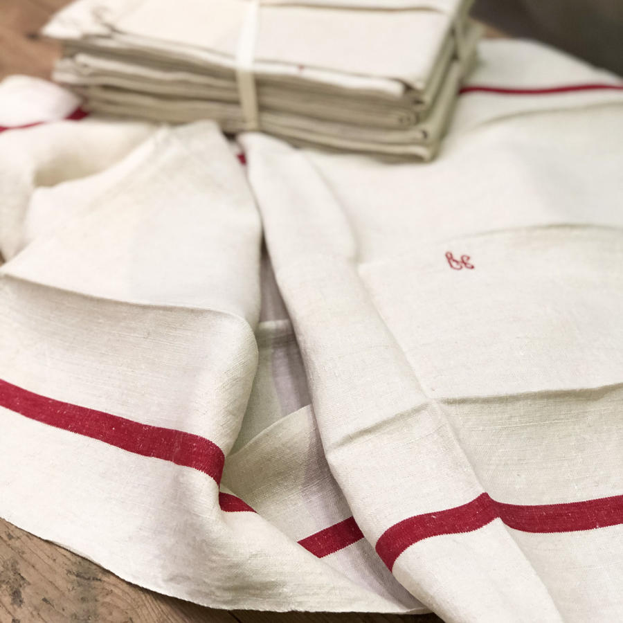 Bundle of 6 French Linen Tea-Towels with Red Stripe