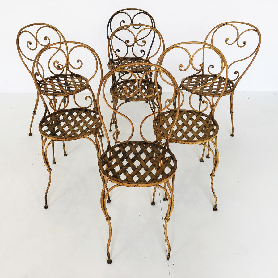 Set of 7 Italain Iron Garden Chairs - circa 1890