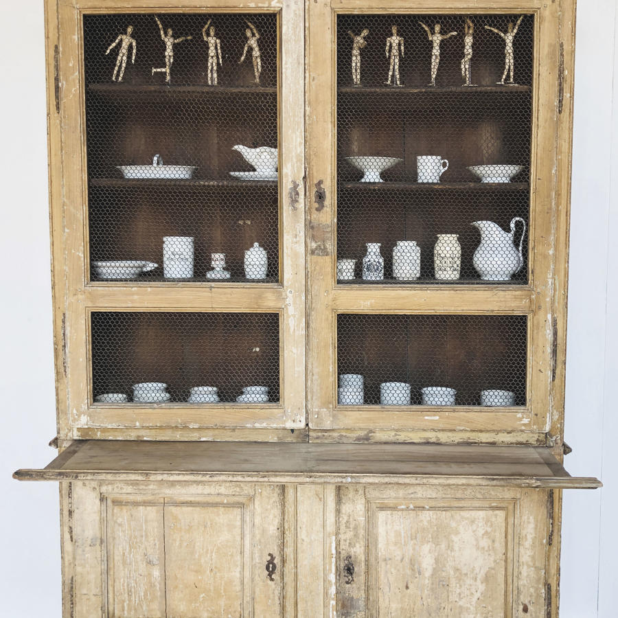 French 18th c Cupboard with original Mesh & Paint - circa 1770