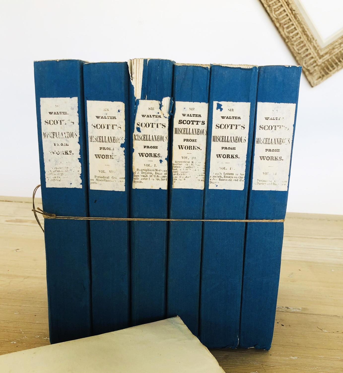 Set of 7 Blue French Books on Sir Walter Scott