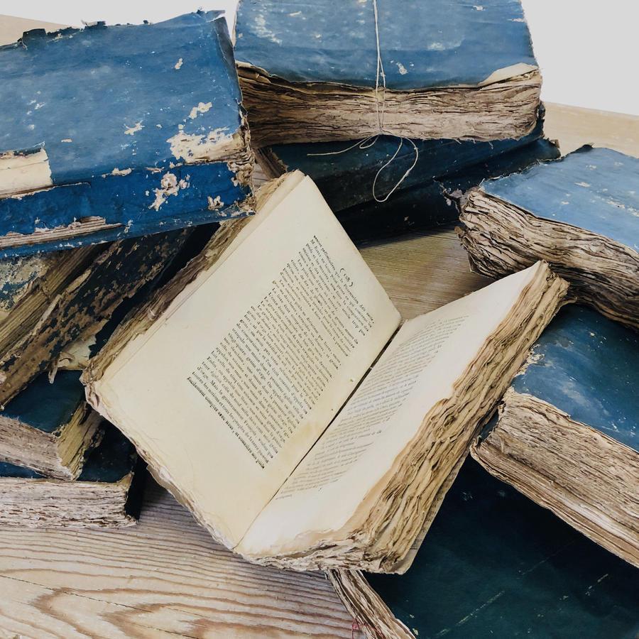 Set of 10 Blue 19th c French Books - circa 1805