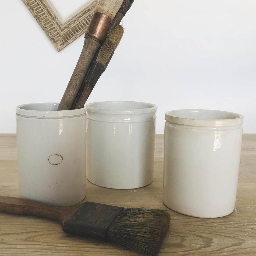 3 Tall French white Porcelain Jam Jars - circa 1920