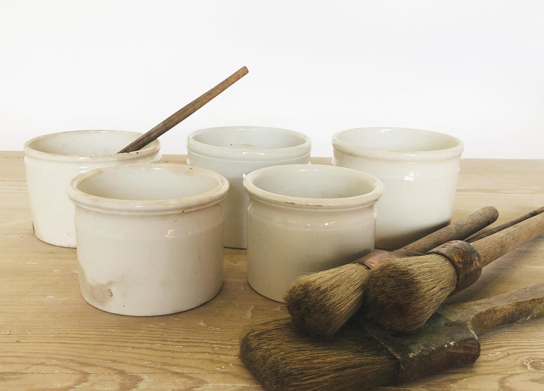 5 Large French White Porcelain Pate Jars
