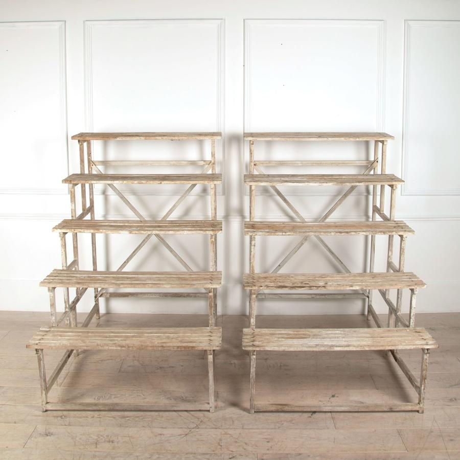 Pair of French Oak Tiered Plant Stands - circa 1930