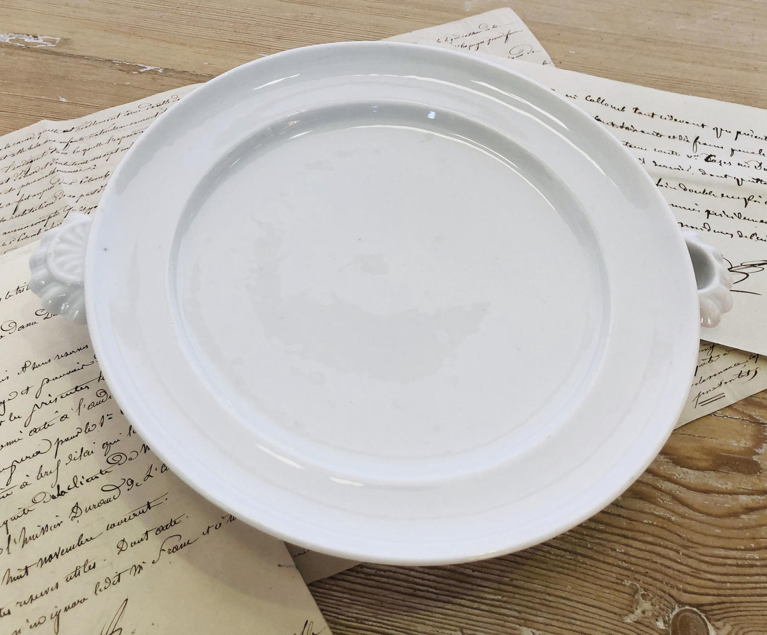 White French Porcelain Warming Plate - circa 1920