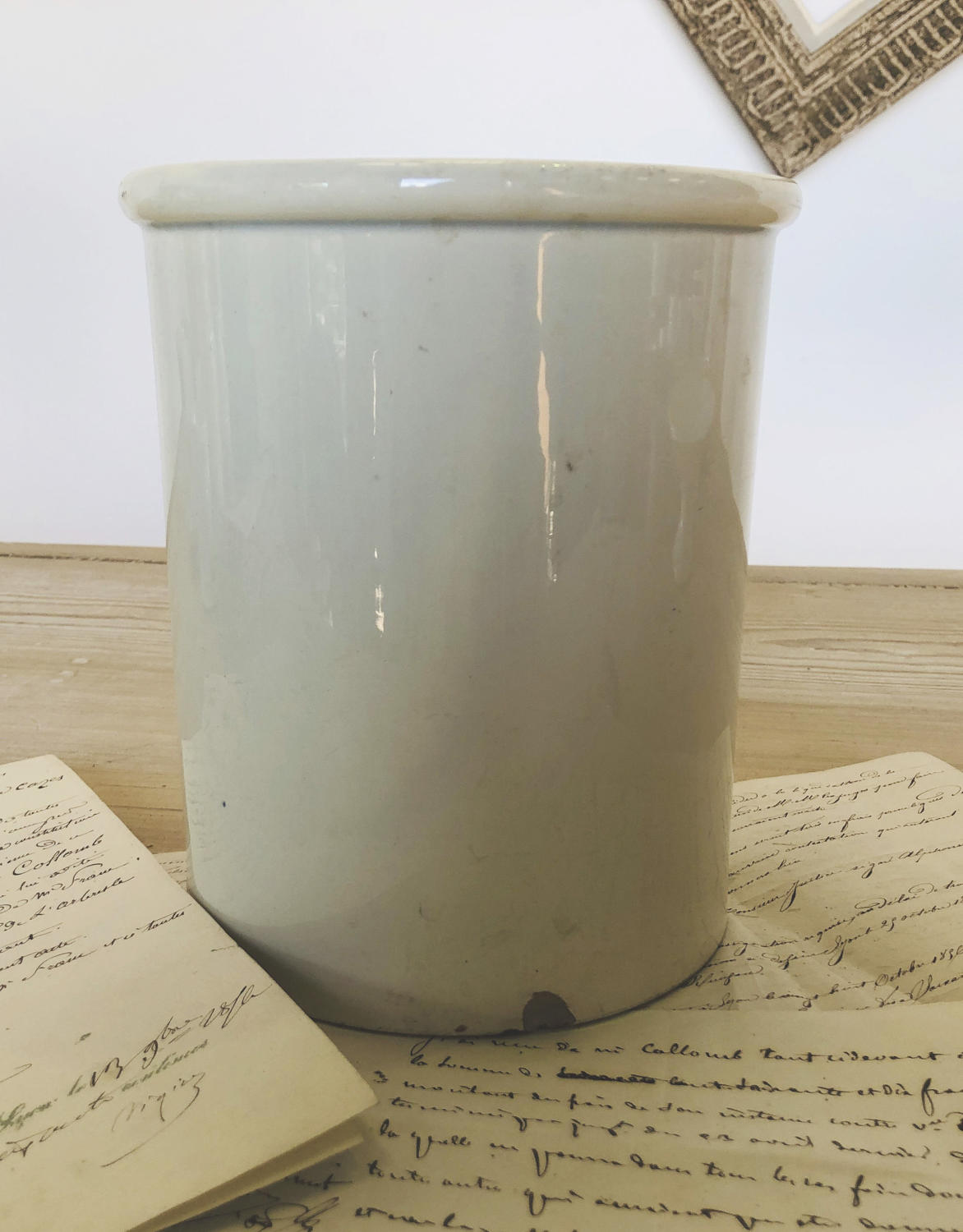 French White glazed Jar - circa 1920