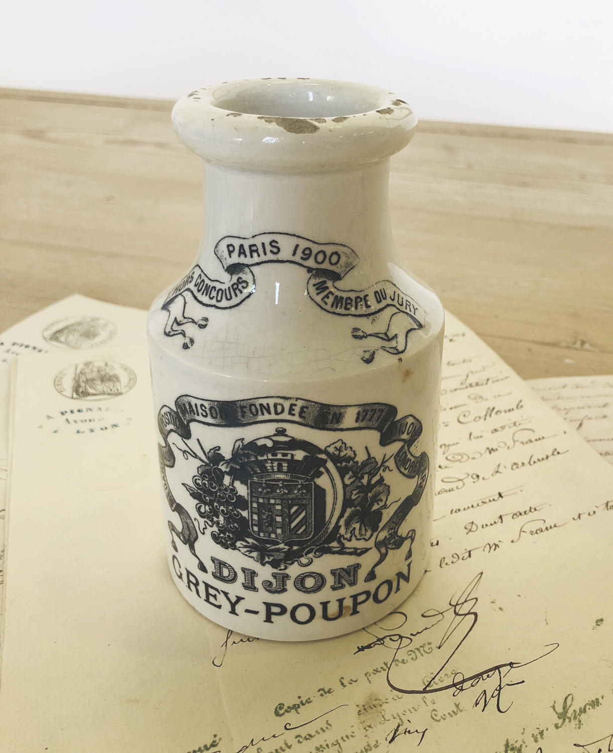 19th c French Dijon Mustard Jar - circa 1900