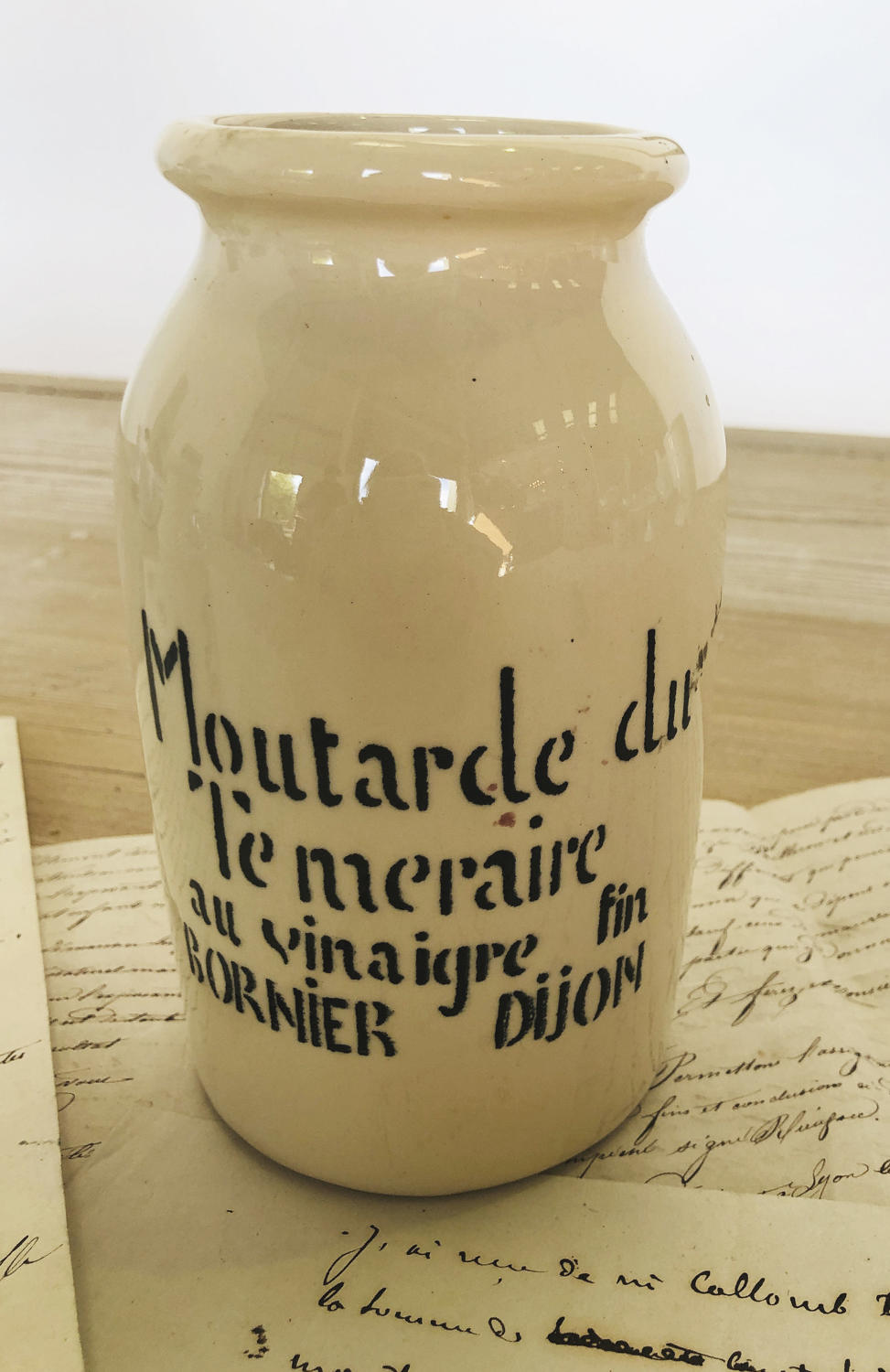 Cream French Mustard Jar from Dijon - circa 1940
