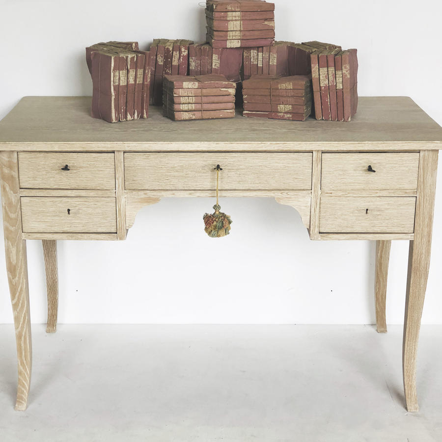 20th c Swedish bleached Oak Desk - c. 1950