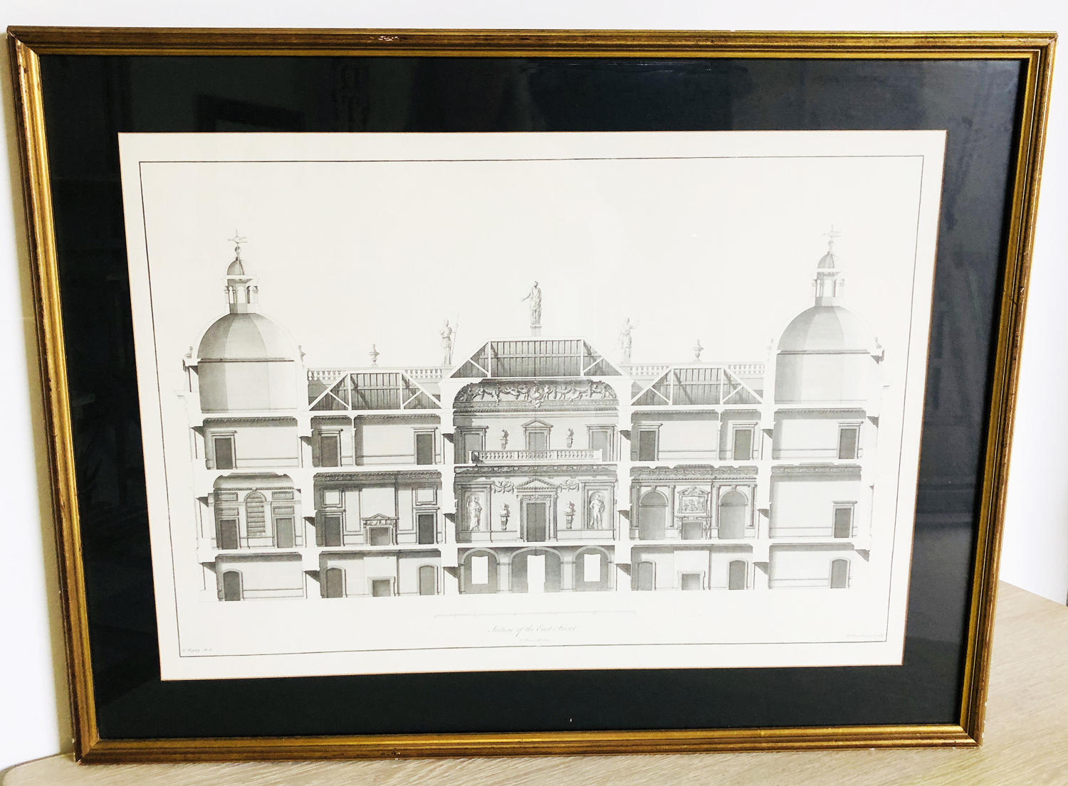 19th c Etching of Facade of old Building - circa 1880