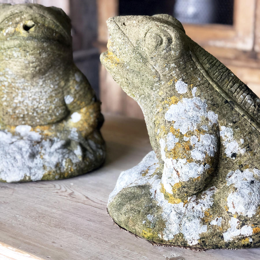 Pr. large composition Stone Frogs - circa 1920