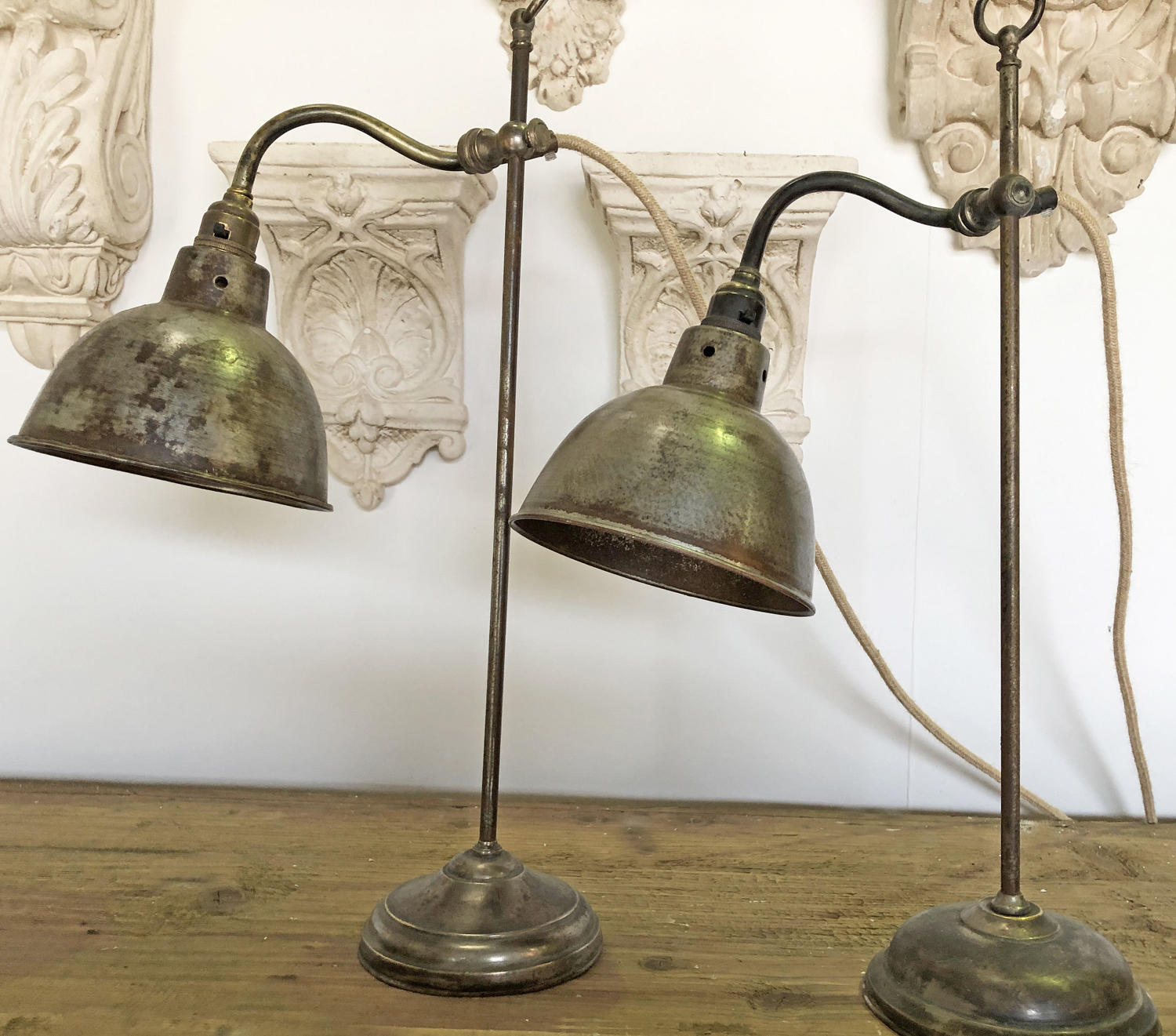 2 Vintage Brass Desk Lamps - circa 1950