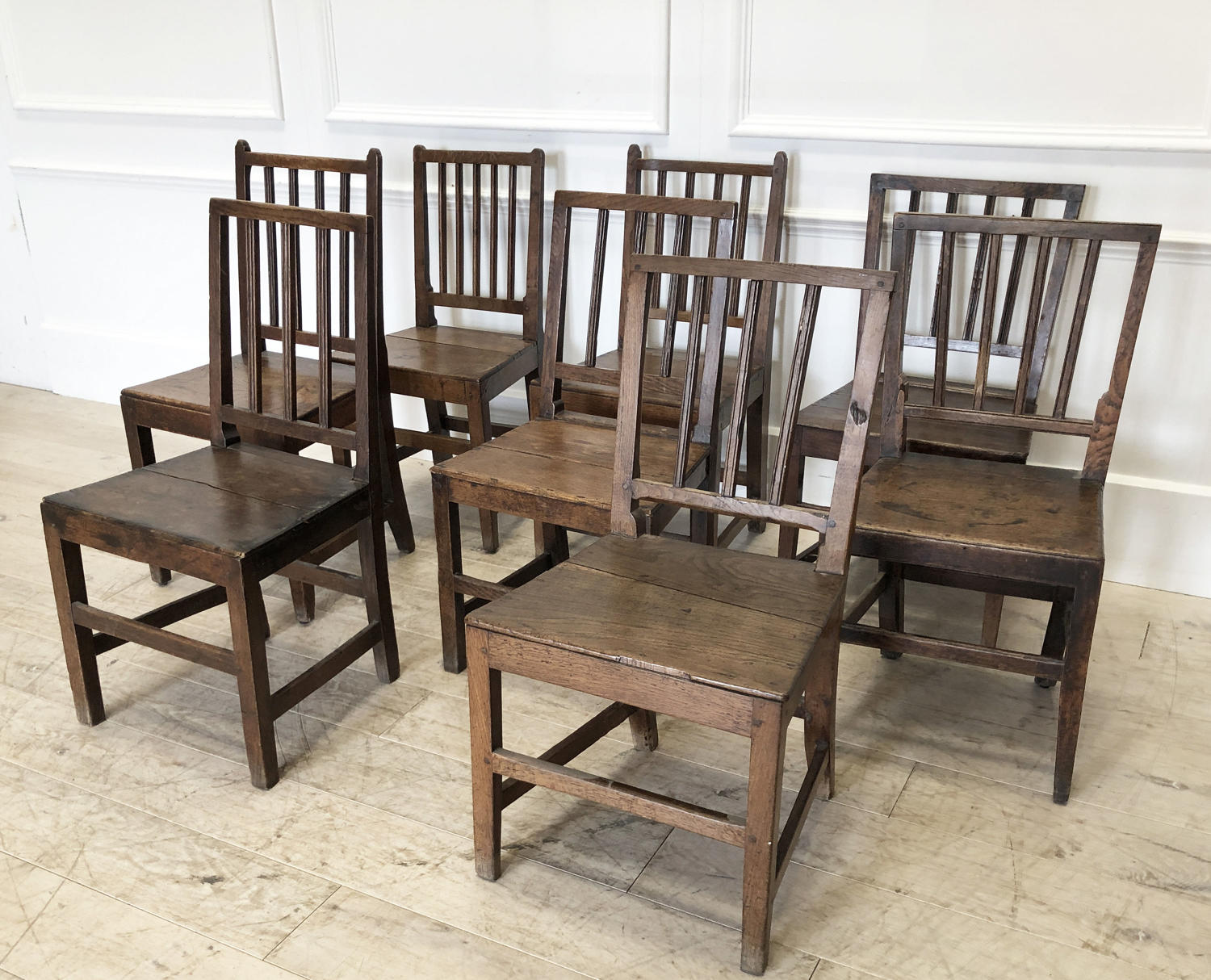 Set of 8 English early 19th c Oak Dining Chairs