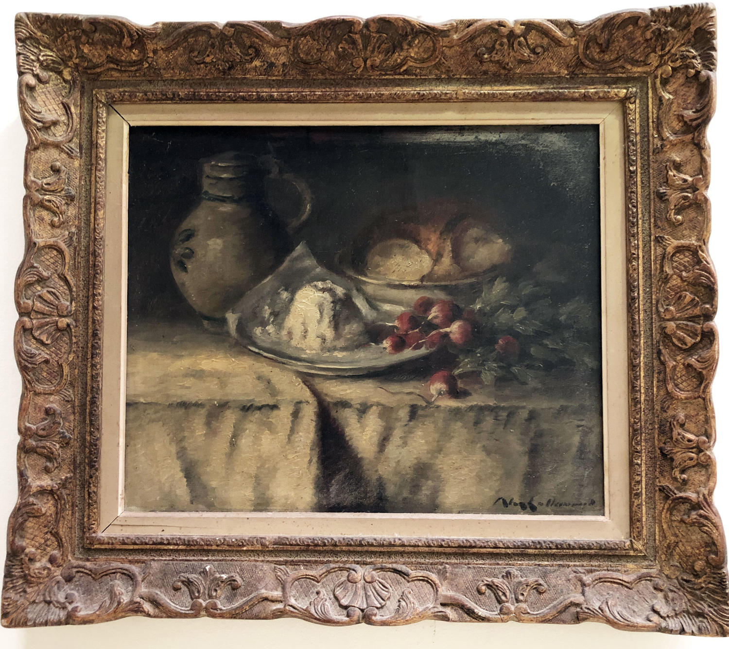19th c French Still Life - oil on canvas with Radishes