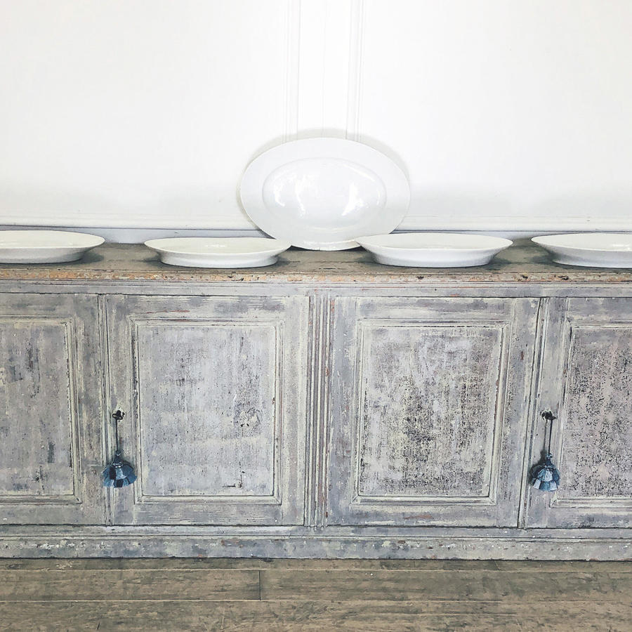 French 18th c 'Enfilade' with original blue paint Circa 1780