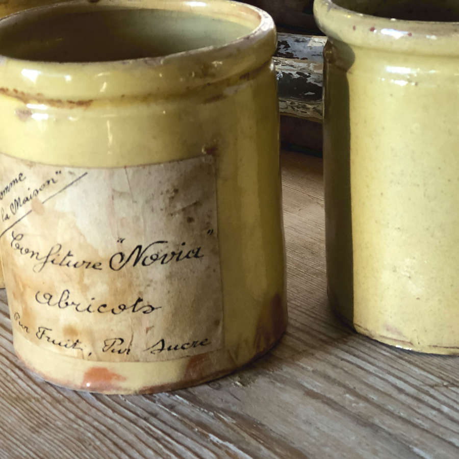Small French Yellow glazed terracotta jars - circa 1900