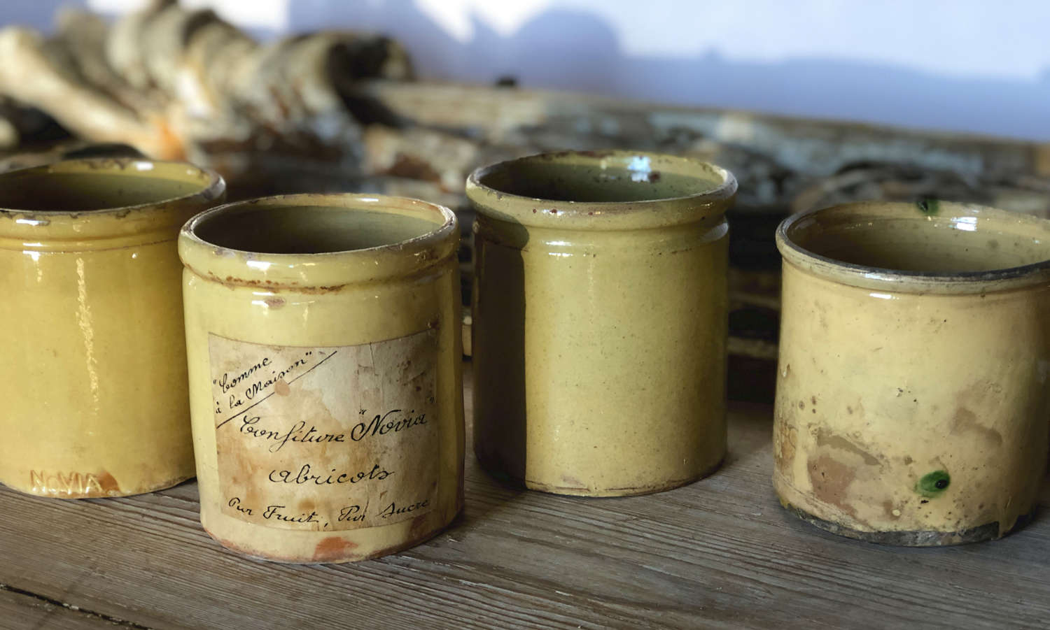 Small French Yellow glazed terracotta jars - circa 1900