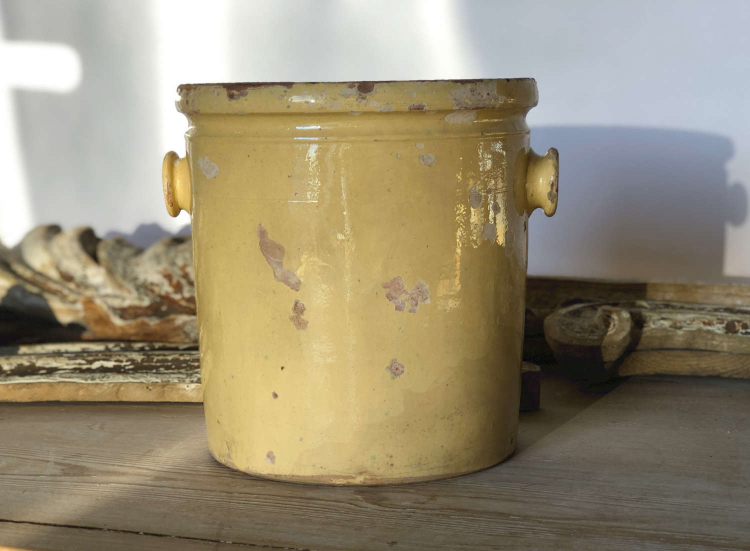 19th century Tall Yellow Glazed terracotta jar - circa 1800