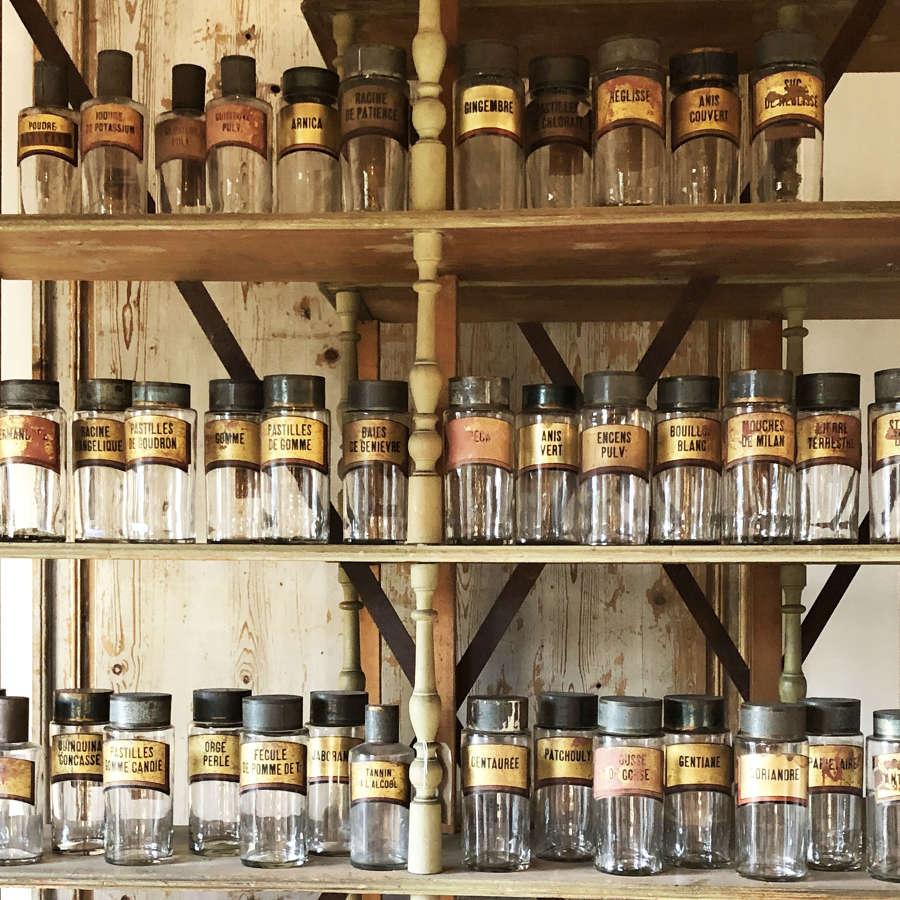 Set of 44 19th century Glass Apothecary Jars Circa 1820