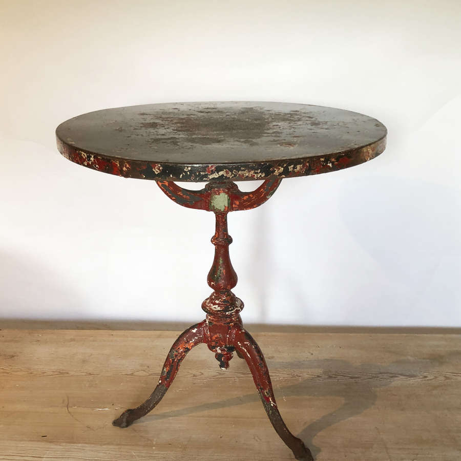 Round 19th c Italian iron Table with original paint