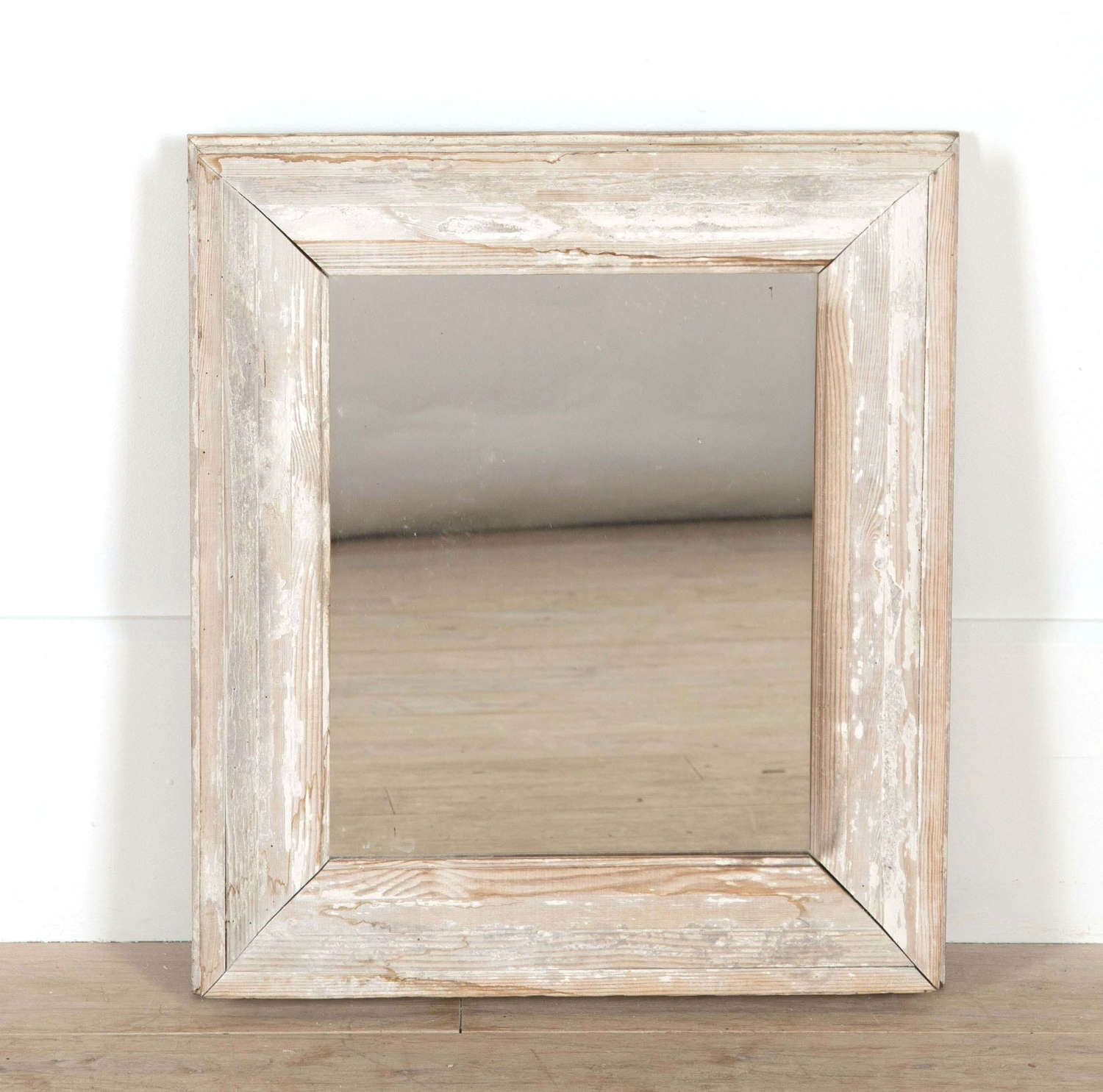 Small French White Framed Mirror circa 1920