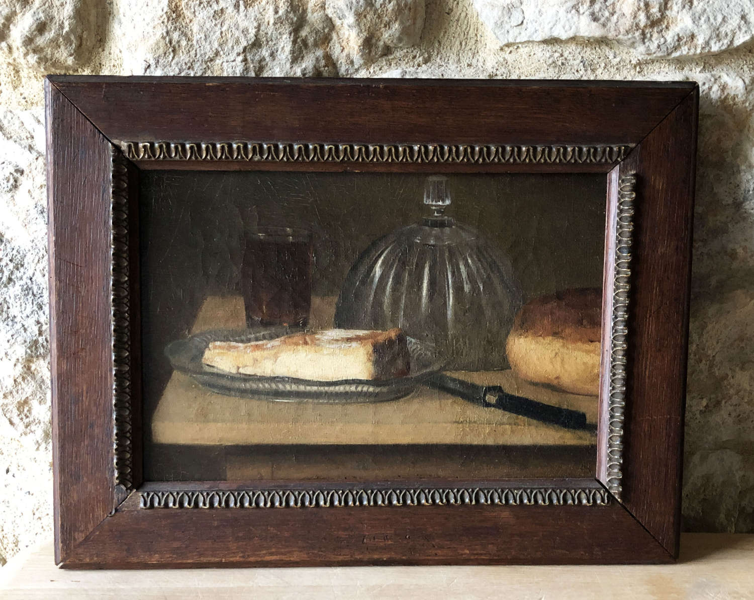 French 19th c Still Life of Bread and Cheese