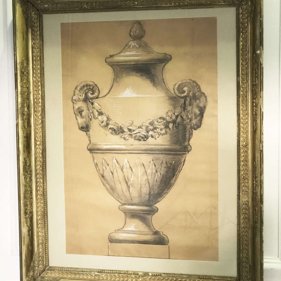 French Framed Design for a Garden Urn c 1860