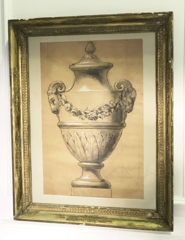 French Framed Design for a Garden Urn c 1860