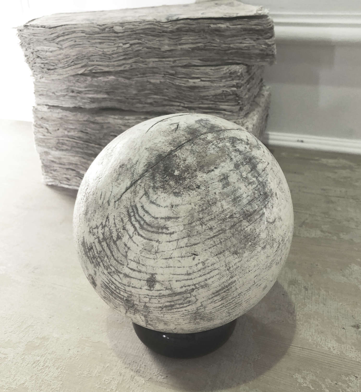 Old French wooden Bowling Ball - circa 1900