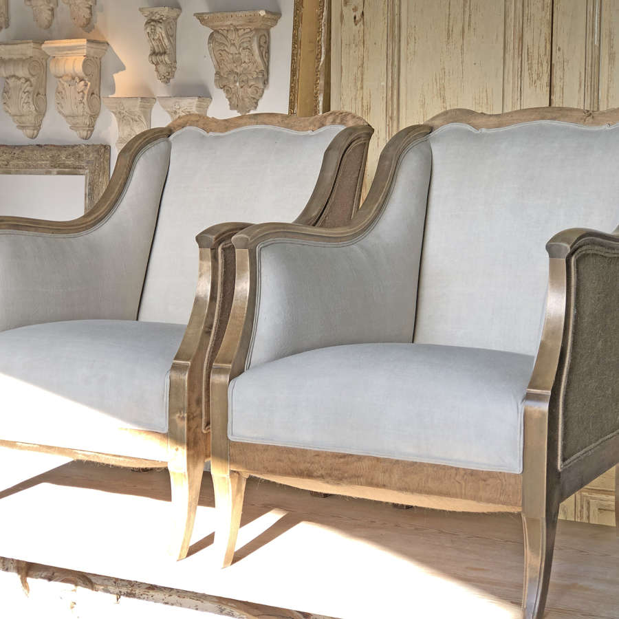 Pair of Swedish Armchairs with linen upholstery c 1880