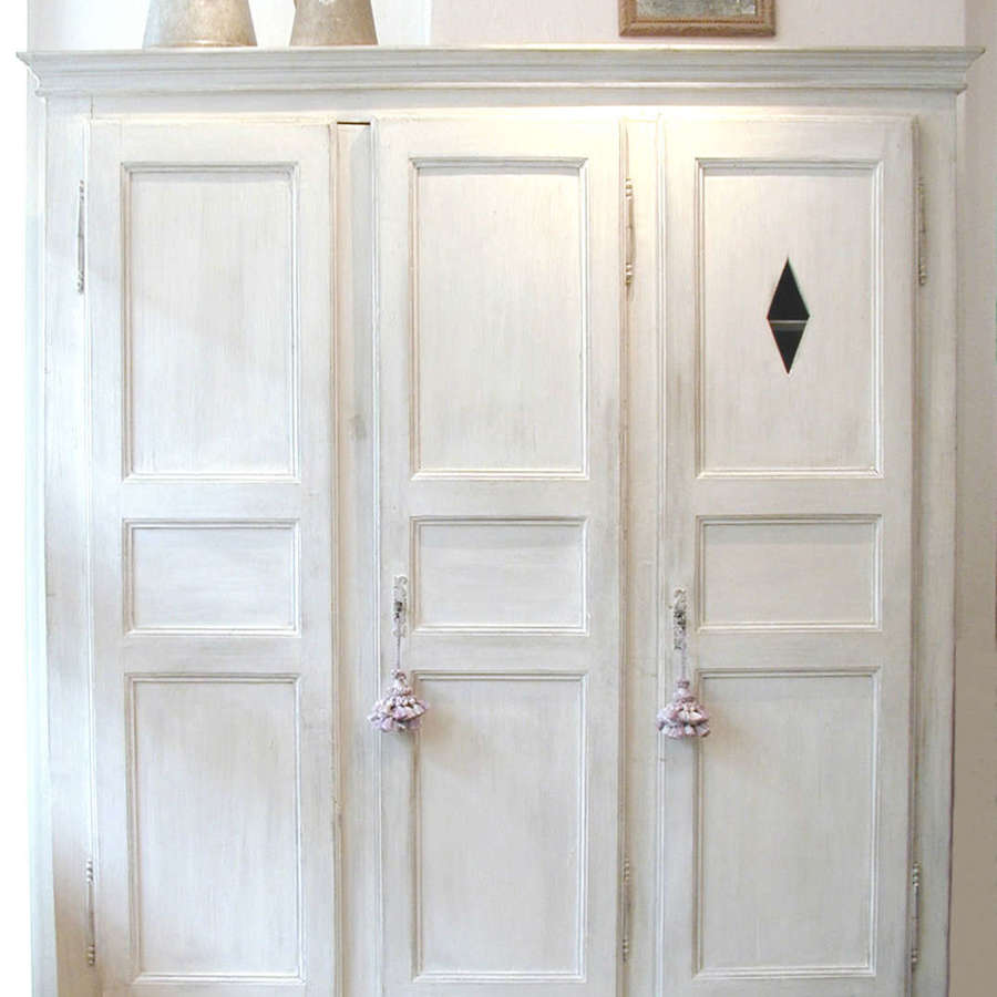 French 18th century white 3-door Armoire