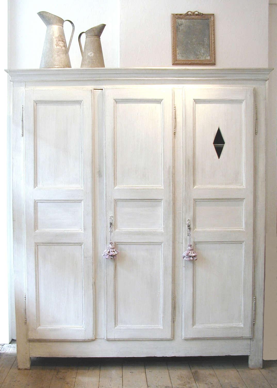 French 18th century white 3-door Armoire