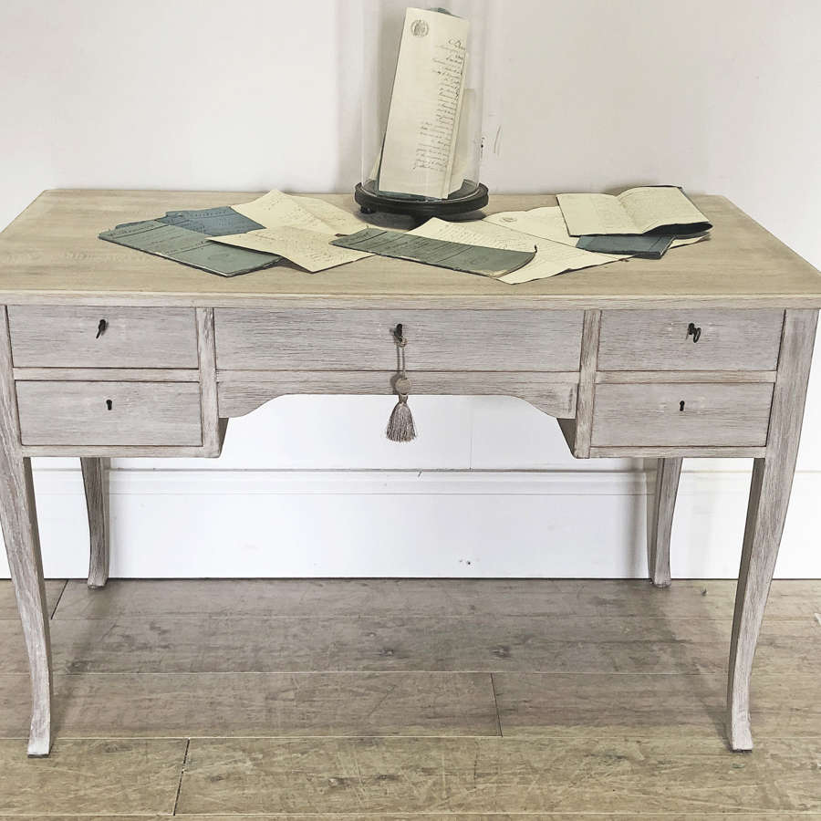 Swedish 20th c Bleached Oak Desk