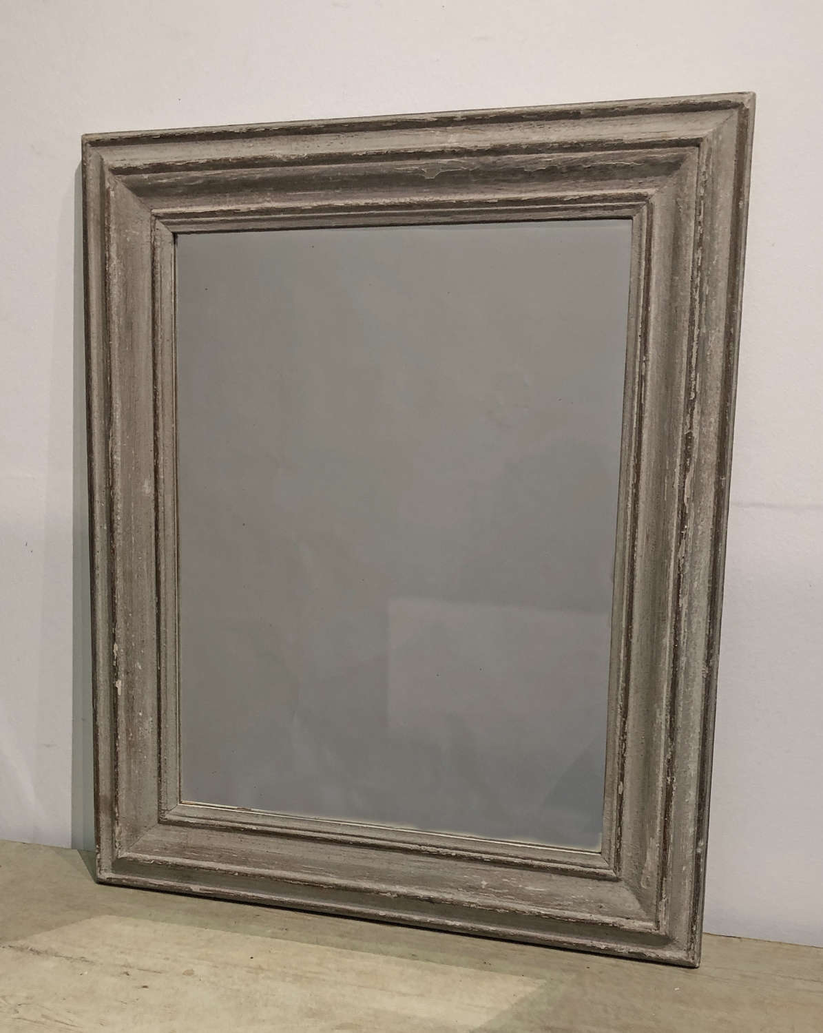 19th c French Mirror with remains of grey paint - c 1890