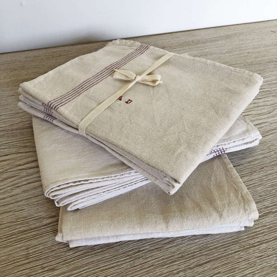 3 x Bundles of 4 early 20th c hemp/linen T-Towels