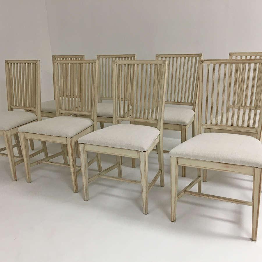 Set of 8 Swedish 20th century Dining Chairs