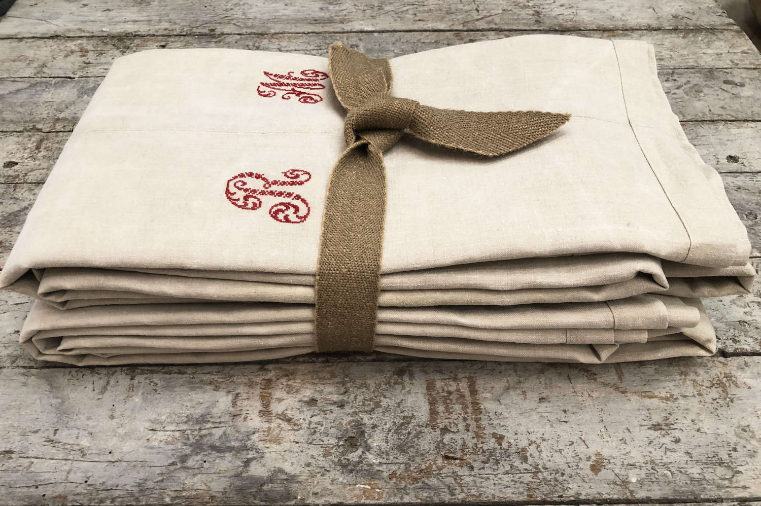 Pair old French Linen Sheets circa 1900