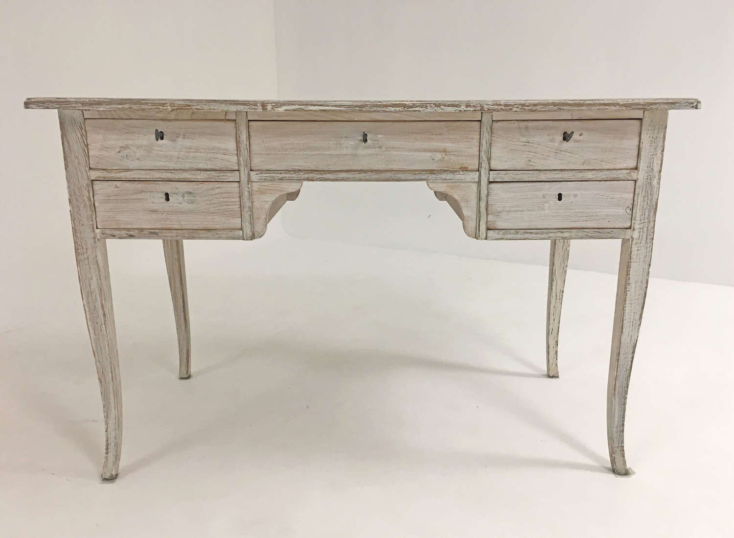 Swedish 20th c Pine Desk with 5 Drawers - circa 1950