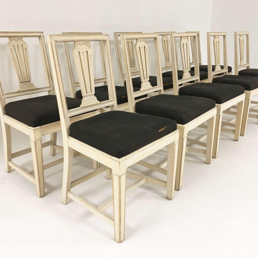 Set of 10 19th c Swedish Dining Chairs - circa 1850