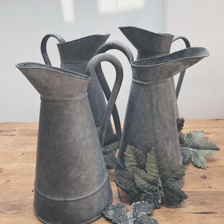 4 Old French Zinc Wash Jugs - circa 1920