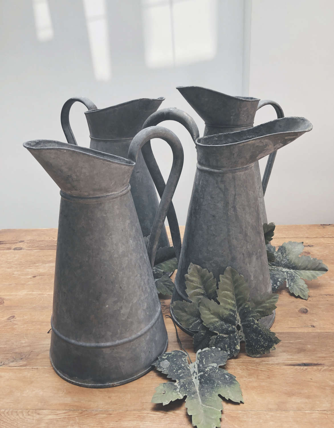4 Old French Zinc Wash Jugs - circa 1920