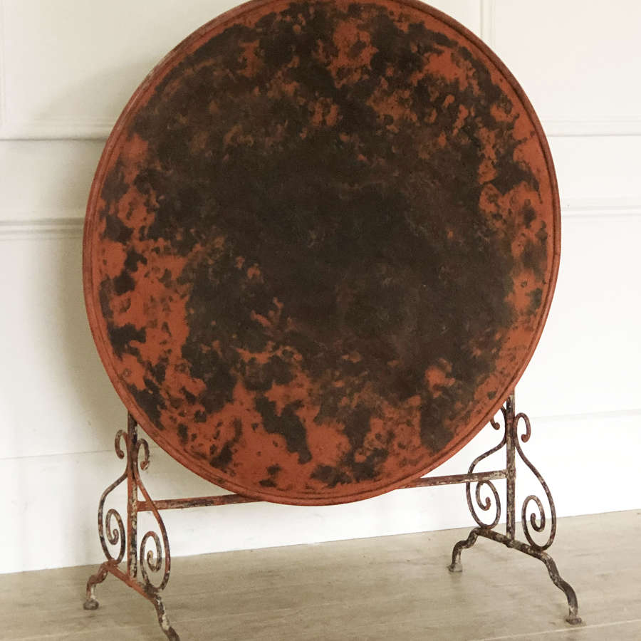 19th c Large round Iron Folding Table - Circa 1880