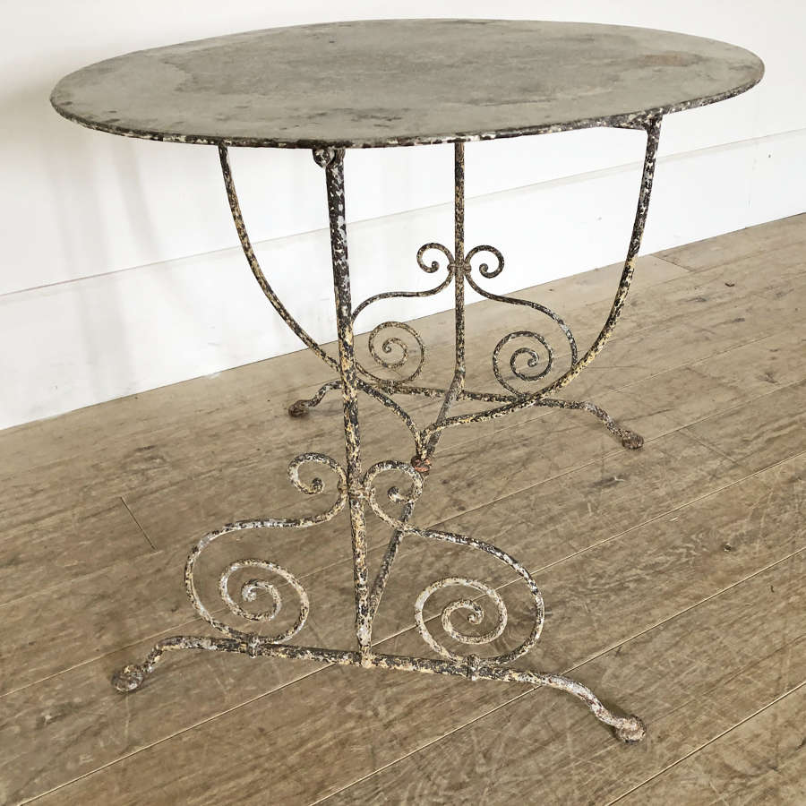 19th century French round iron Folding Table c 1880
