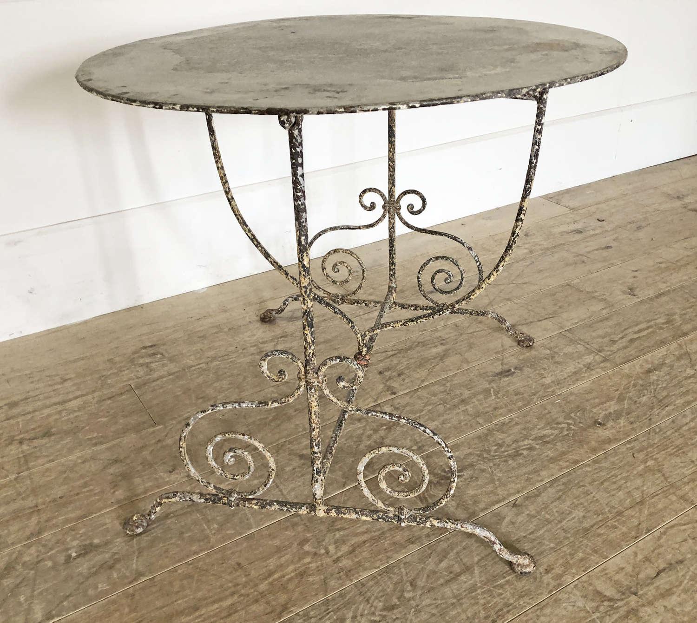 19th century French round iron Folding Table c 1880