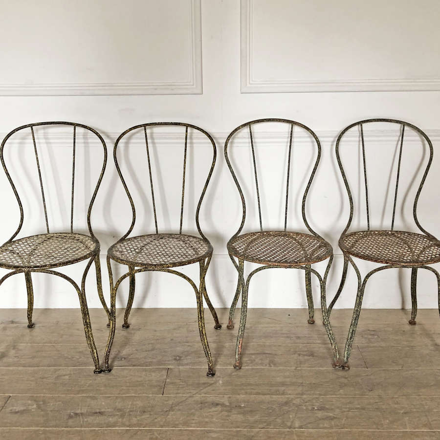 Set of 4 19th c French Iron Garden Chairs - circa 1890