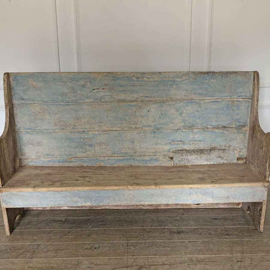 French 18th c primitive Blue Bench - circa 1750
